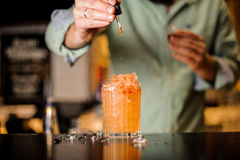 Il barista aggiunge amaro al cocktail dell'estate Fotografia Stock Libera da Diritti