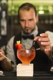 Il barista sta facendo un cocktail Fotografia Stock Libera da Diritti