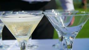 Il barista versa i vetri di champagne video d archivio