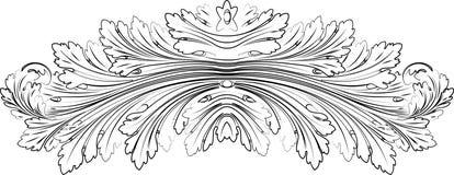 Il Baroque frondeggia stile di calligrafia della rosetta. Fotografia Stock Libera da Diritti