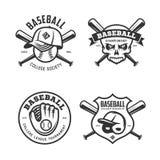 Il baseball identifica gli emblemi dei distintivi messi Illustrazione dell'annata di vettore illustrazione di stock