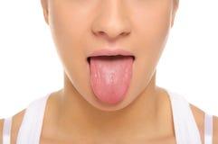 Il bastone della donna un tongue fuori Immagine Stock Libera da Diritti