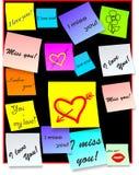 Il bastone nota - note di amore - il vettore Immagine Stock
