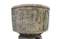 Il battesimo di Gesù nel fiume Giordania su un Baptisma isolato Fotografia Stock