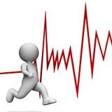 Il battito cardiaco di salute rappresenta lo sprint di benessere e rende la rappresentazione 3d Fotografia Stock Libera da Diritti