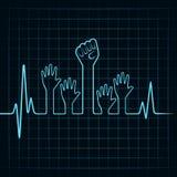 Il battito cardiaco fa la mano di unità e dell'aiuto Fotografie Stock