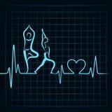 Il battito cardiaco fa un simbolo della ragazza e del cuore di yoga Immagini Stock