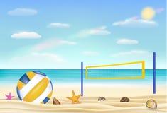 Il beach volley e la rete su una spiaggia di sabbia con portano il fondo del cielo del mare Immagine Stock Libera da Diritti