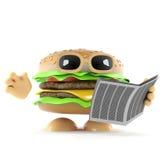 il beefburger 3d legge un giornale illustrazione di stock
