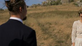 Il bei tipo e ragazza stanno camminando lungo il campo contro il contesto di un paesaggio rurale pittoresco archivi video