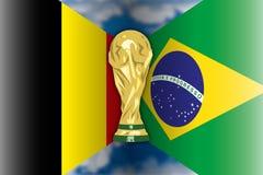 Il Belgio CONTRO il Brasile, Russia 2018, finali quarti illustrazione vettoriale