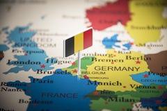 Il Belgio ha segnato con una bandiera sulla mappa fotografia stock libera da diritti