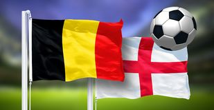 Il Belgio - l'Inghilterra, FINALE della coppa del Mondo della FIFA, Russia 2018, bandiere nazionali Fotografia Stock Libera da Diritti