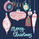 Il bello albero di Natale adorabile grafico scandinavo artistico del modello del collage del nuovo anno di festa di retro arte d' illustrazione di stock