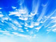 Il bello cielo del turchese in nuvole bianche divorzia su una mattina romantica dell'estate Fotografia Stock