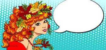 Il bello colore della ragazza di autunno parla Fotografie Stock