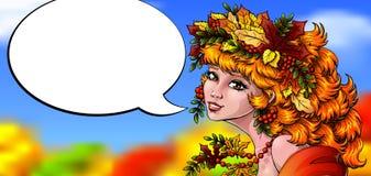 Il bello colorfull della ragazza di autunno parla Fotografie Stock