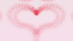 Il bello cuore fiamma-rosa sta comparendo Poi il cuore sta disperdendo Cuore di San Valentino fatto di spruzzata rosa illustrazione vettoriale