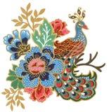 Il bello del malese di arte dell'uccello del pavone del fiore e della gouache indonesiana dell'acquerello della composizione nel  illustrazione di stock