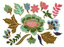 Il bello del malese di arte del fiore e della gouache indonesiana dell'acquerello degli elementi dei sarong del batik su fondo bi royalty illustrazione gratis