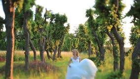 Il bello giovane funzionamento biondo della sposa nella foresta verde della molla si è acceso dai raggi di sole Sposo bello su fo stock footage