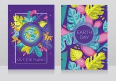 Il bello manifesto con le insegne di petwo con il nostro pianeta nel telaio floreale, può essere usato come cartolina d'auguri pe Fotografia Stock