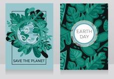 Il bello manifesto con le insegne di petwo con il nostro pianeta nel telaio floreale, può essere usato come cartolina d'auguri pe Immagine Stock Libera da Diritti
