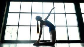 Il bello modello che fa l'yoga si esercita, ragazza flessibile, giovane donna nell'yoga di pratica degli abiti sportivi in palest archivi video