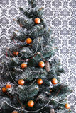 Il bello natale ha decorato l'albero con lo spazio della copia sulla finestra Immagine Stock