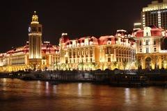 Il bello nightscape a Tianjin fotografia stock