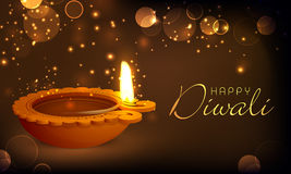 Il bello olio ha acceso la lampada per la celebrazione felice di Diwali Immagine Stock
