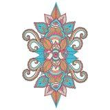 Il bello ornamento floreale indiano può essere usato come cartolina d'auguri Immagine Stock
