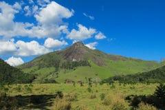 Il bello paesaggio della collina verde e liscia la roccia immagine stock