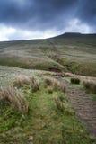Il bello paesaggio di Brecon guida il parco nazionale con la s lunatica Immagini Stock Libere da Diritti