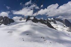 Il bello paesaggio maestoso del massiccio di Mont Blanc francese Fotografia Stock