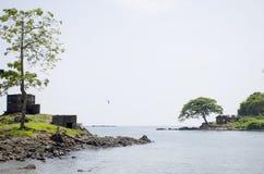 Il bello paesaggio protetto il porto di mare delle Andamane Blair India immagine stock libera da diritti