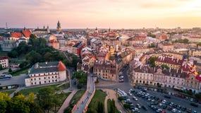 Il bello panorama di Lublino fotografia stock libera da diritti
