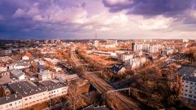 Il bello panorama di Lublino immagine stock