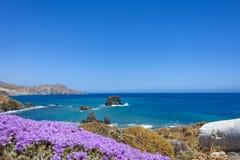 Il bello panorama a Lendas, Creta Fotografie Stock