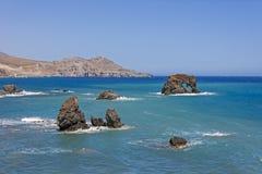 Il bello panorama a Lendas, Creta Immagine Stock