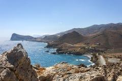 Il bello panorama a Lendas, Creta Fotografie Stock Libere da Diritti