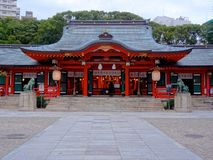 Il bello santuario di Ikuta di Kobe, Giappone fotografia stock libera da diritti