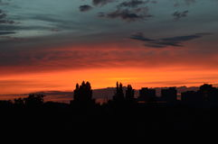 Il bello tramonto in Moldavia Immagine Stock Libera da Diritti