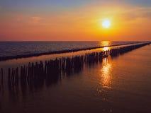 Il bello tramonto sulla costa riflette il colore arancio del sole sul mare ha fila dei pali di legno attacca sulla terra dell'oce fotografia stock