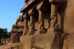 Il bello yali ha affrontato le sculture in rathas mahabalipuram-five Immagini Stock Libere da Diritti