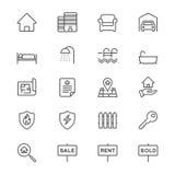 Il bene immobile assottiglia le icone Immagini Stock Libere da Diritti