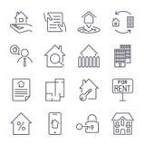 Il bene immobile, l'edificio, la casa, la costruzione, l'icona del contratto ed il concetto del segno hanno messo per il infograp Immagine Stock