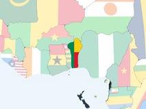 Il Benin con la bandiera sul globo Illustrazione di Stock