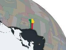 Il Benin con la bandiera sul globo Illustrazione Vettoriale