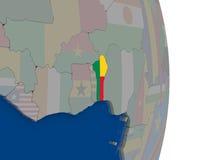 Il Benin con la sua bandiera Fotografia Stock Libera da Diritti